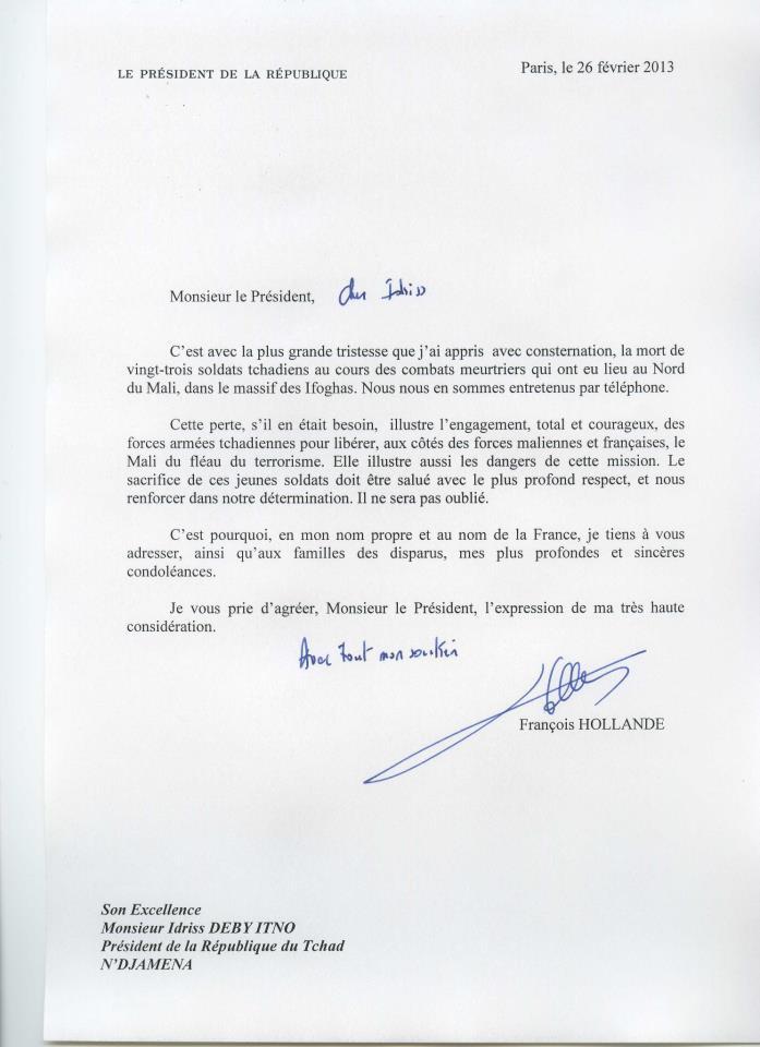condoléances lettre Lettre de condoléances du président français au président tchadien  condoléances lettre
