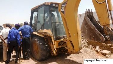 Opération de traçage de route dans le 7e arrondissement de N'Djamena