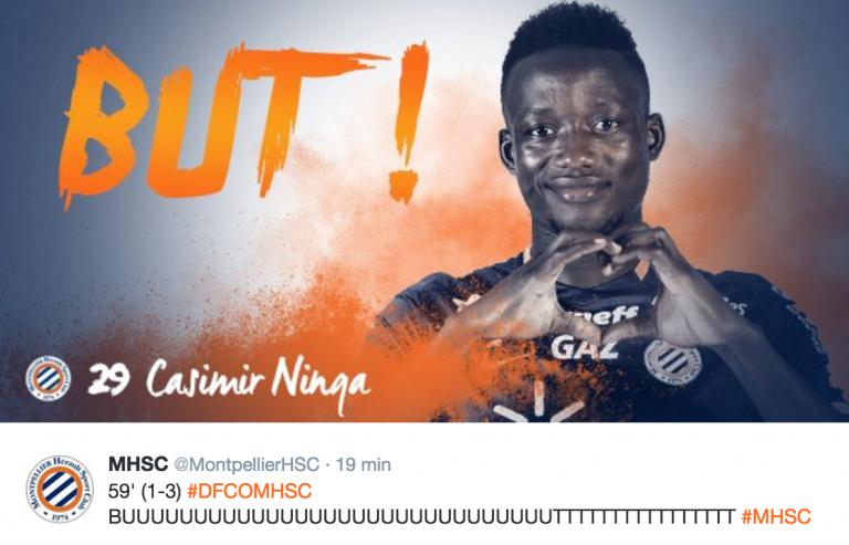Iyalat: l'attaquant tchadien de Montpellier Casimir Ninga ouvre son compteur avec un triplé