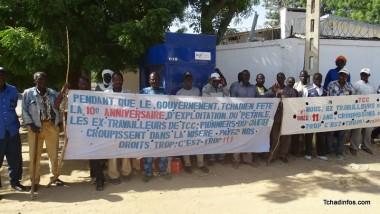 Des ex travailleurs pétroliers font sit-in devant les locaux d'ESSO, à N'Djaména