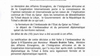 Tchad/Diplomatie: Le Tchad ferme l'ambassade de l'Etat du Qatar à N'Djamena