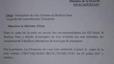 Tchad/Burkina Faso : Suppression de visas d'entrée au Burkina Faso au profit des Tchadiens