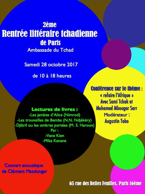 2ième édition de la rentrée littéraire tchadienne à Paris le 28 octobre 2017
