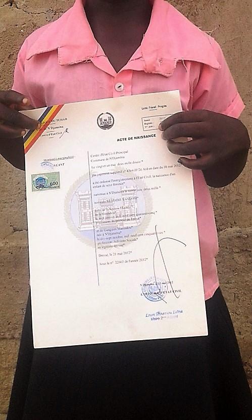 Tchad : Plus de 80% d'enfants ne disposent pas d'actes de naissance