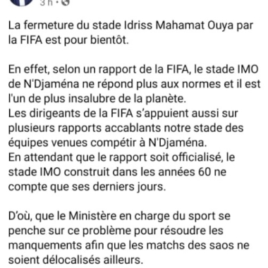 Tchad:  est-il vrai que le stade Idriss Mahamat Ouya sera fermé?
