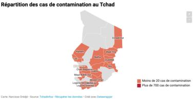 Coronavirus : carte de contamination au Tchad