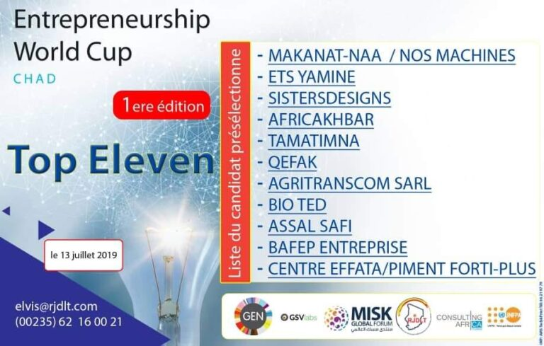 Tchad : la finale nationale de la Coupe du monde de l'entrepreneuriat aura lieu le 13 juillet