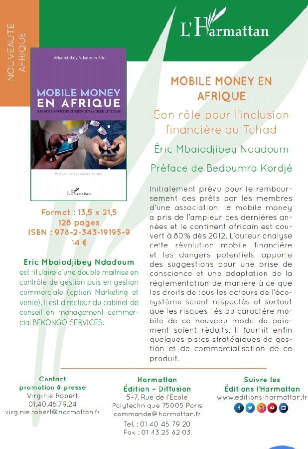 """Livre: """"Mobile money  en Afrique"""", moyen d'inclusion financère au Tchad par Mbaiodjibey Ndadoum"""