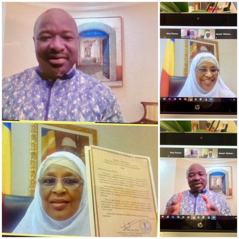 La représentante permanente du Tchad auprès de l'OTICE, Mariam Ali, présente ses lettres de créances